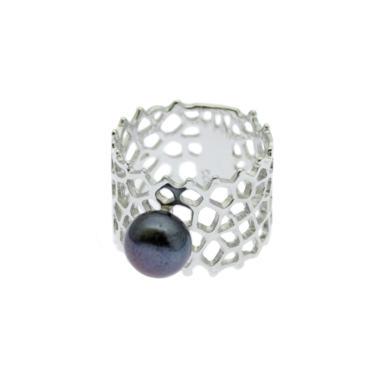 sterling silver pearl ring with 8mm button pearl on ornate